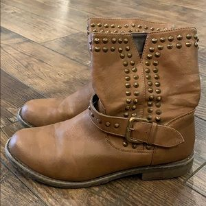 Studded Moto Brown Boots
